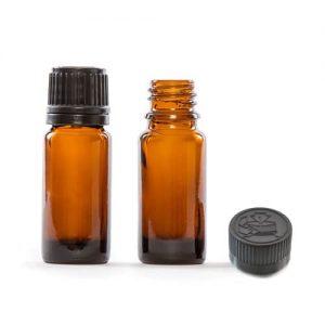 Rjava steklenička za eterična olja s pokrovčkom, varnim za otroke, in vstavljeno kapalko